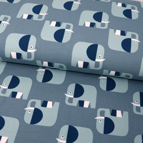 ORGANIC Jersey ~ Elefanten Retro Blaugrau Blau