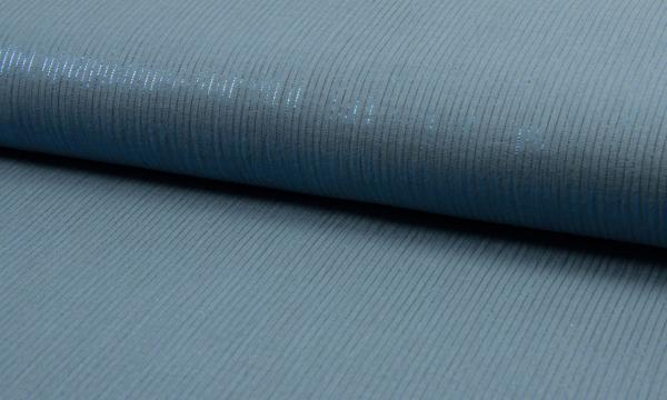 Musselin ~ Lurex Streifen auf Jeansblau