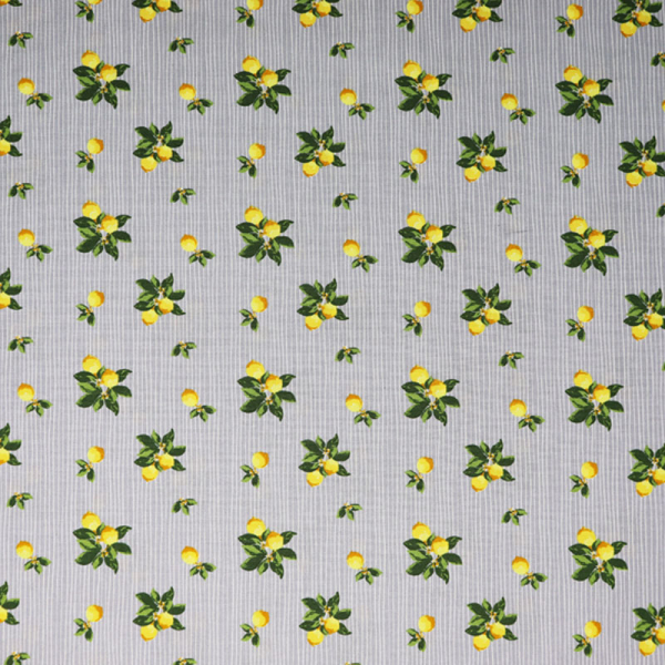 Baumwolle ~ Zitronen auf Grau Weiß gestreift