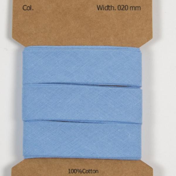 3 m Baumwoll Schrägband Babyblau 20mm