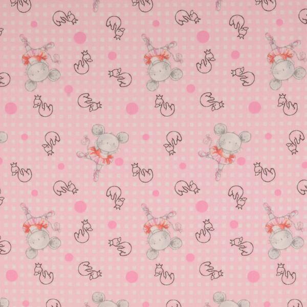 Baumwolle ~ tanzende Maus Rosa