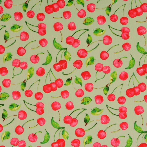 Baumwolle ~ Kirschen auf Grün