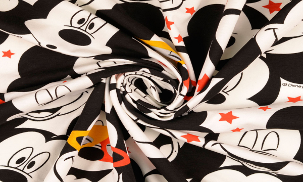 Lizenz Jersey ~ Mickey Maus Gesicht Schwarz Weiß