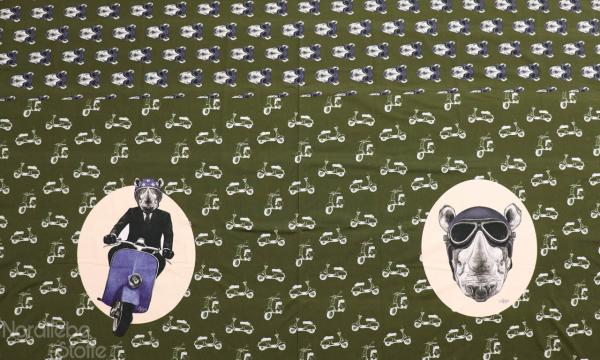 Jersey Panel ~ Nashorn auf Mofa Oliv (4)