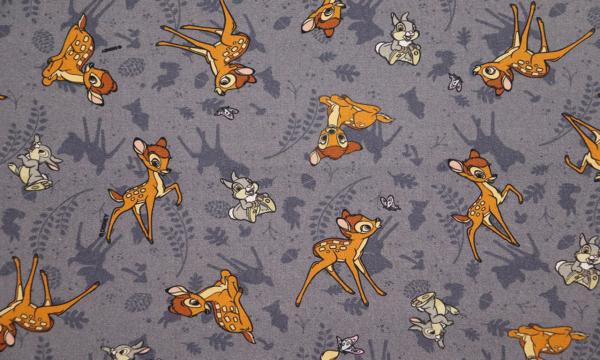 Lizenz Walt Disney Baumwolle ~ Bambi und Klopfer auf Grau