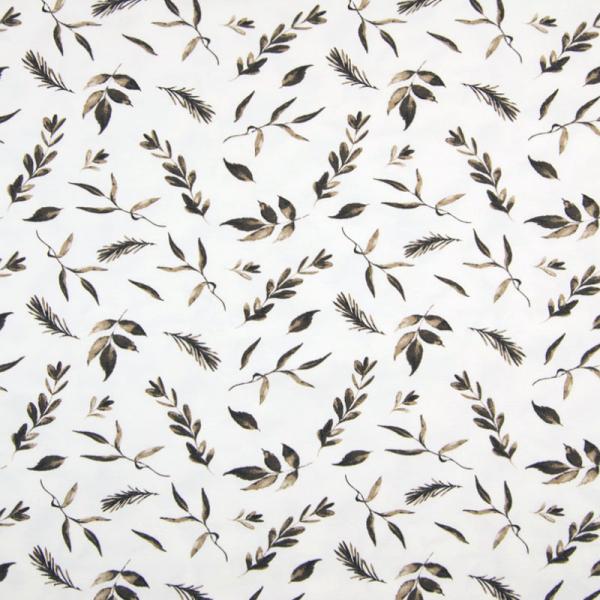 Jersey ~ Blätter Taupe auf Weiß