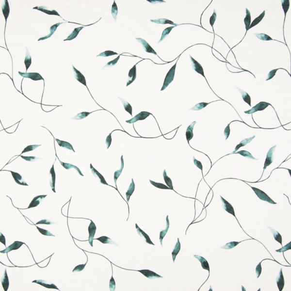Jersey ~ Blätter Grün auf Weiß