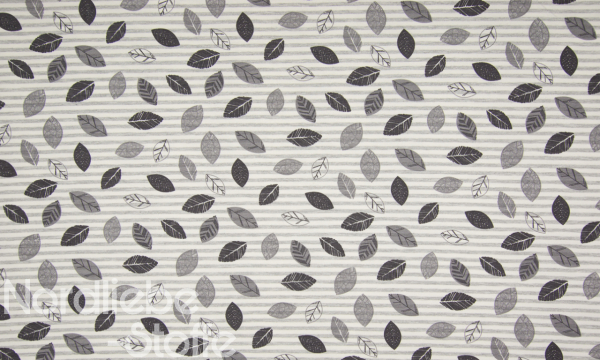 Soft Jersey ~ Blätter Streifen Grau