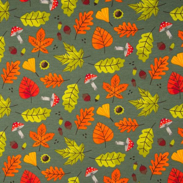French Terry ~ Herbstblätter & Pilze auf Grün