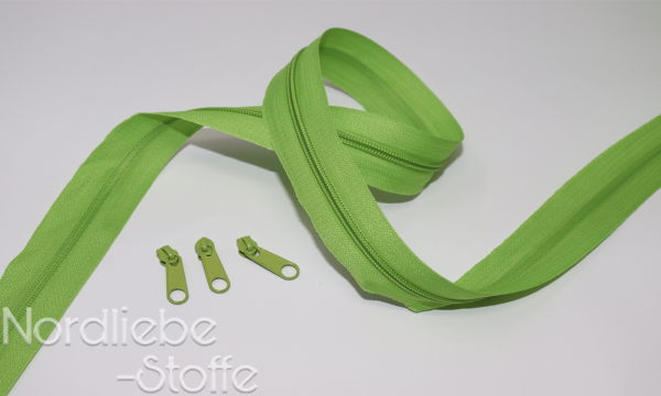 Endlosreißverschluss 3mm lime incl. Zipper