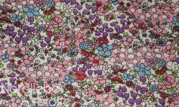 Baumwolle ~ Blumenwiese rosa