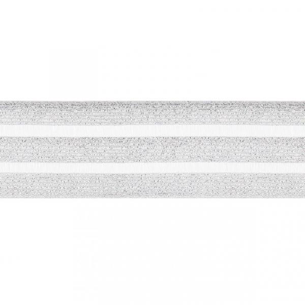 Glitzer Gummiband mit Tülleinsatz 50 mm ~ Silber