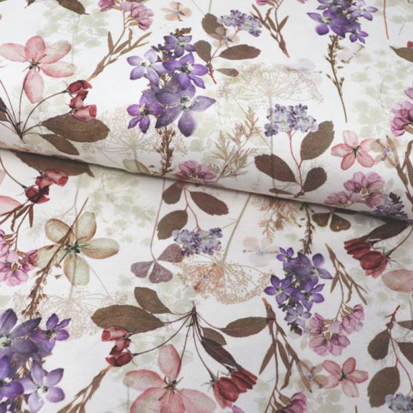 Digital Jersey ~ Lila Blumen auf Ecru