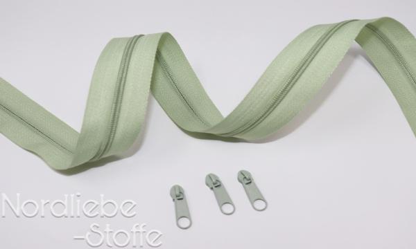 Endlosreißverschluss 3mm pastellgrün incl. Zipper